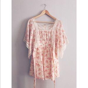 Vintage Peasant Floral Lace Dress